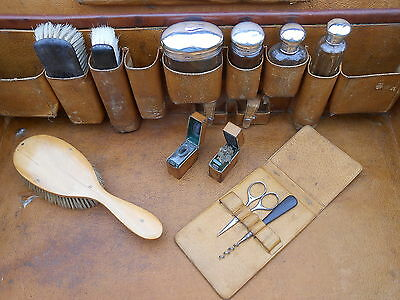 LARGE HARRODS LEATHER LUGGAGE CASE with SILVER BOTTLES ETC - HUBERT WOLLASTON