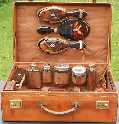Silver Bottles & Hip Flask Etc - Leather Luggage Case - Marjorie Wollaston