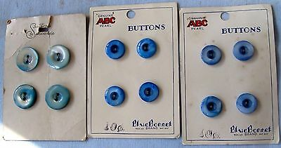12 BLUE FRESHWATER PEARL SEWING BUTTONS BLUEBONNET BRAND ON 3 CARDS 40's VINTAGE