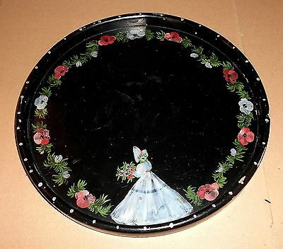Vintage Round Crinoline Lady Painted Wooden Serving Tray