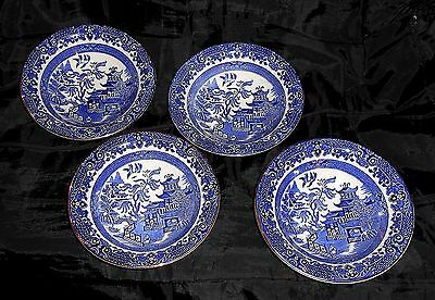 Set of 4 Burleigh Ware Blue Willow Pattern Pottery Breakfast Bowls