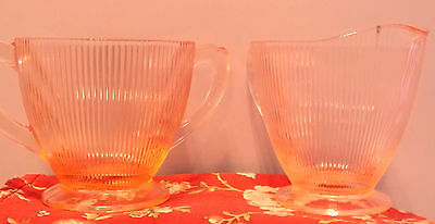 Pink Homespun Cream And Sugar Set----In Great Condition---A Great Buy !!!