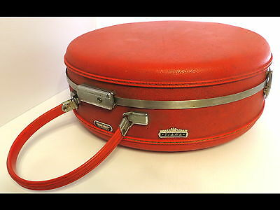 Vintage American Tourister Tiara Red Round Hat Box Train Case Luggage Suitcase