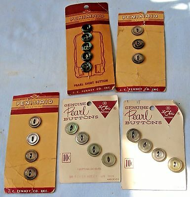 20 ABALONE SHELL GENUINE PEARL SEWING BUTTONS ON 5 CARDS 1930's-40's ERA VINTAGE