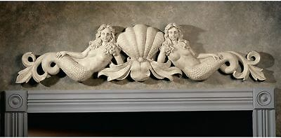 Mermaid & Ocean Sea Shells Wall Sculpture 18Th Century Antique Stone Replica