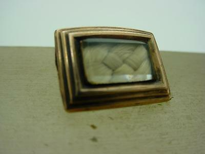 19th Century Victorian Hair Mourning Jewellery Pin Brooch Rose Gold