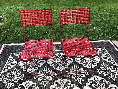 Red Heavy Wrought Iron folding patio chairs Garden Lawn Bistro Vintage Art Deco