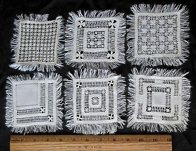 """set of 6 antique Mexican drawnwork 3.5"""" coasters/cocktail napkins, lovely work!"""