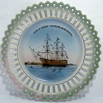 H.M.S. Victory / Nelson / Portsmouth Victorian Lustre Plate - Militaria Sailing?