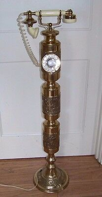 """Large Onyx Vintage Brass 40"""" Tall Dial Telephone - Working Phone"""