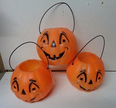 3 Vintage 1960's JOL Pumpkin Trick or Treat Buckets From Two Guys Dept Store