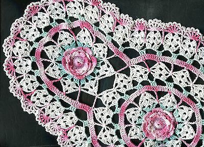 """Variegated Pink Crochet Oval Rose Flower Doily Doilies approx. 12"""" x 20"""""""