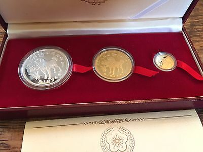 1994 Year Of The Dog Gold & Silver Bullion 3 Pc Proof Coin Set,equatorial Guinea