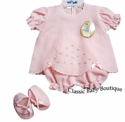 NWT Will'beth Pink Rosebud Diaper Set Booties Newborn Baby Girls Boutique 3 pc