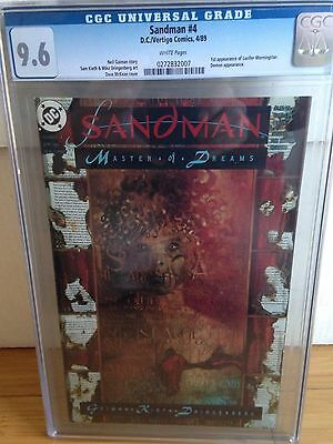 SANDMAN 4 1990 CGC 9.6 First Lucifer Hot TV show perfect case white pages