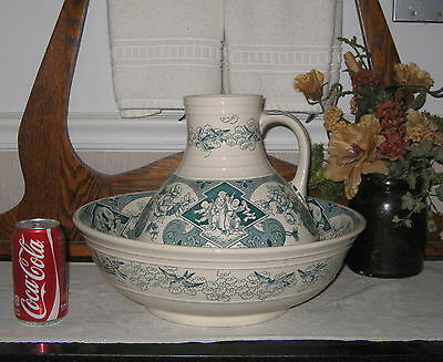 1880 SADO BY Brownfield & Sons Green Transfer Ware WASH PITCHER & BASIN