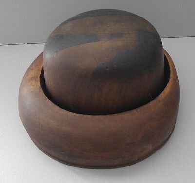 Antique WOOD HAT MOLD FORM Millinery Brim Mold Form Block