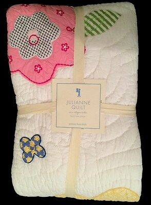 Pottery Barn Kids Julianne Twin Quilt New Girls Flowers Pink Yellow Scallop Edge