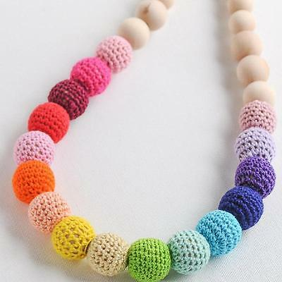 Wooden Round Crocheted Bead Colorful Woolen Teether Beads Toy Necklace