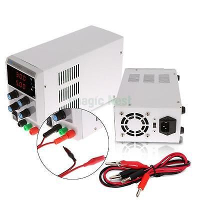 30V 5A Digital DC Regulated Power Supply Adjustable Variable Grade w/ Cable Clip