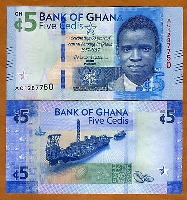 Ghana, 5 Cedis, 2017, P-New, UNC > Commemorative