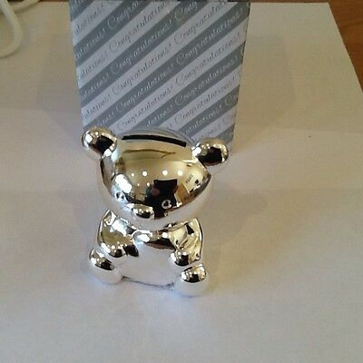 silver plated teddy bear money box,new by shudehill,