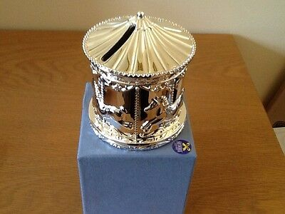 silver plated carousel money box,new by shudehill,rrp £19.99