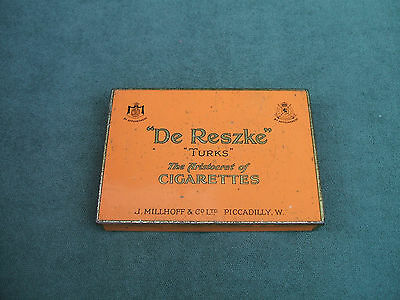 "Old J. Millhoff & Co London ""De Reszke"" Turks Cigarettes Flat Fifty Tin  c 1950s"