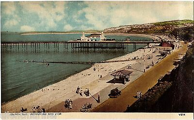 Colwyn Bay, Promenade and Pier, old coloured postcard, unposted
