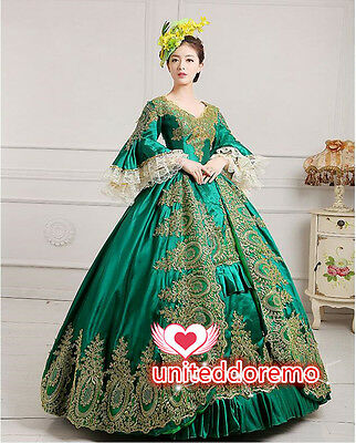 Lady Victorian Gothic Period Dress Ball Gown Theatre Green Custom Women's Dress