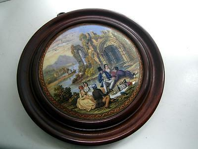 Staffordshire Prattware pottery Pot lid THE PICNIC at THE ABBEY framed 19thC