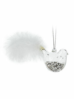 """Clear Glass Clear Bird With Feather & Glitter 6"""" Christmas Ornament"""