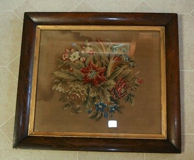 "Antique 19th C Decorative Arts Floral Embroidery On Linen ~18""x16"" Walnut Frame"
