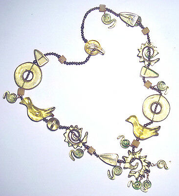 "VINTAGE Massive STATEMENT Modernist ARTISAN Art To Wear 39"" RESIN Bird NECKLACE"