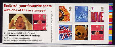 GB 2005 6 x 1st CLASS SMILERS STAMPS BARCODE BOOKLET QA1