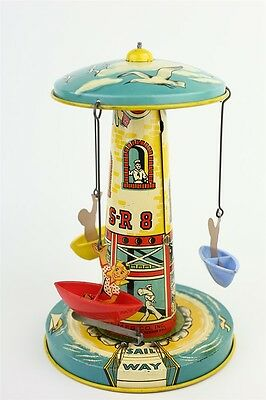 Vintage 1950s Unique Art Musical Sail-Way Coursel Litho Tin Wind Up Toy VG