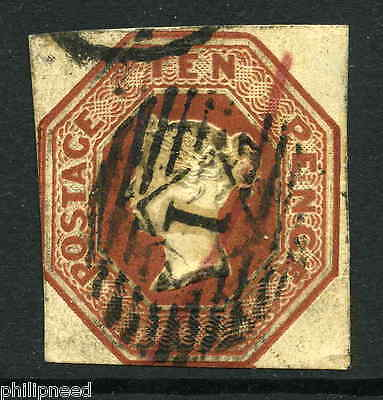 SG 57 10d Brown Embossed, 3 margin cut square, Good to Fine Used, Highgate[A8