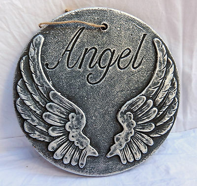 Angel Wings Terracotta Wall Hanging - Garden Ornament - Plaque -  BNIB