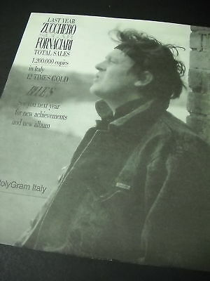 ZUCCHERO 12 Times Gold In Italy 1988 PROMO POSTER AD