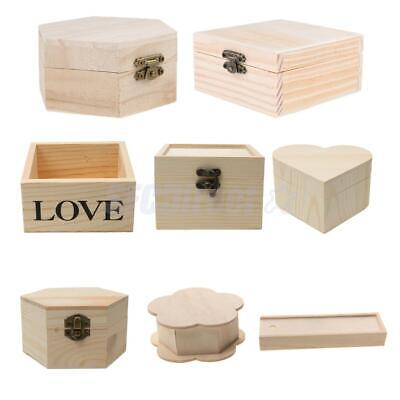 Blank Unfinished Wood Wooden Box Jewelry Gift Boxes for Kids Toys Painting Craft