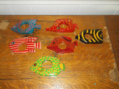 Napkin ring holders made in India wooden colorful tropical fish lot 6