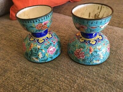Old Chinese Enamel Metal Candle stick holders like cloisonne