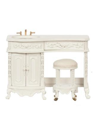 Dolls House White Avalon Sink & Stool The Platinum Collection Bathroom Furniture