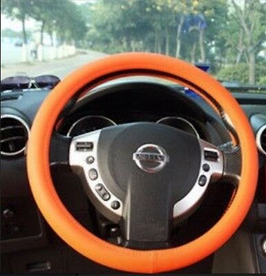 Car Steering Wheel Cover Universal Soft Silicone Texture Leather ORANGE (F85)