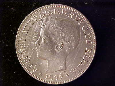 Philippines One Peso 1897 Lustrous Au, But Cleaned