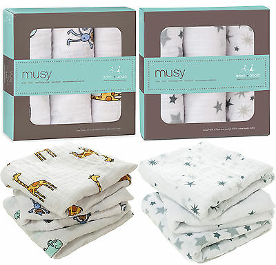 Aden + Anais MUSY MUSLIN SQUARES 3 PACK Baby Feeding 100% Cotton BN