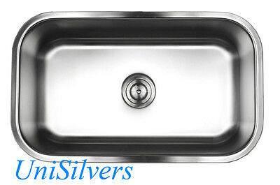 "30"" x 18"" x 10"" Deep Stainless Steel 18G Undermount Single Bowl Kitchen Sink"