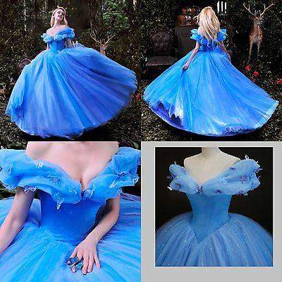 Disney Cenerentola Movie Costume Vestito Carnevale Cosplay Blu Dress Principessa