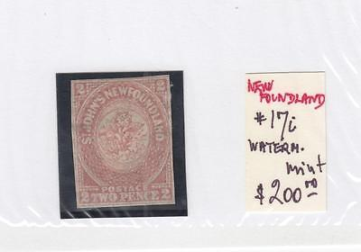 NEWFOUNDLAND # 17i VF-MH WATERMARKED 2p IMPERF CAT VALUE $350