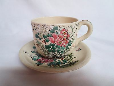 Antique Chinese Cup And Saucer With Raised Decoration